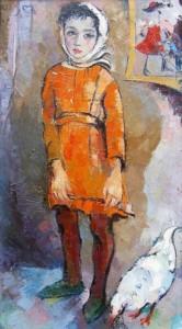 Kind mit Huhn - Öl auf Leinwand 100 x 55 cm - 1985