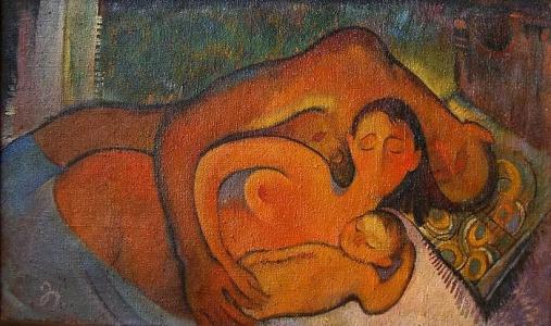 Familie - Öl auf Leinwand 69 x 115 cm - 1987 - 1.000 €