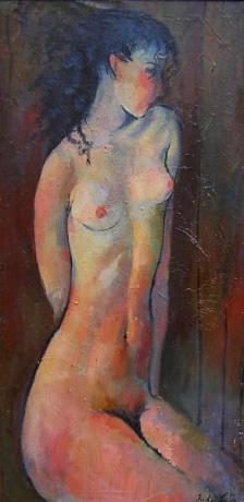 Mädchen - Öl auf Leinwand 99 x 49 cm - 1988 - Preis: 1.000 €