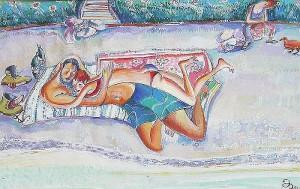 Verrückte Liebe - Gouache auf Papier 55 x 34 cm - 2001 - Preis: 900 €