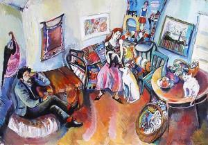 Künstlergeschwister - Gouache auf Karton 61 x 43 cm - 2002 Preis 1.300 €