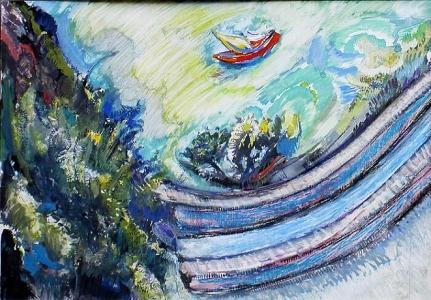 Meereslandschaft - Pastell Gouache Aquarell 35 x 25 cm - 2004 - Verkauft