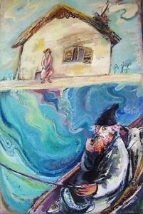 Angler mit wartender Frau - Öl auf Leinwand 60 x 90 cm - 2006 - Preis: 1.400 €
