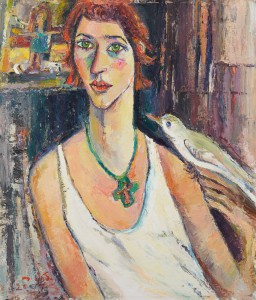 Selbstbildnis mit Taube - Öl auf Leinwand 63 x 73 cm - 2007 - Preis: 1.900 €