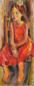 Mädchen mit weisser Rose - Öl auf Leinwand - 40 x 100 cm - Preis: 2.600 €