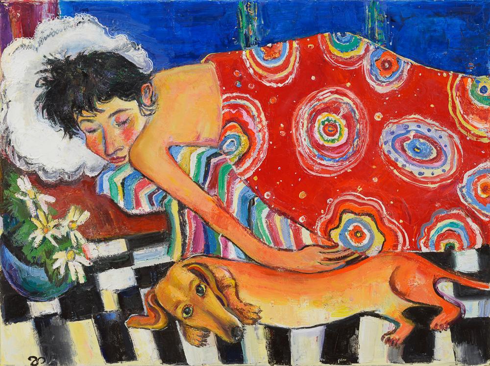 Pepi und ich - Öl auf Leinwand 77 x 57 cm - 2005 - Verkauft