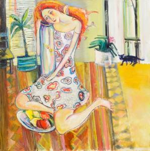 Mädchen mit Aquarium und Katze - Öl auf Leinwand 70 x 70 - 2005