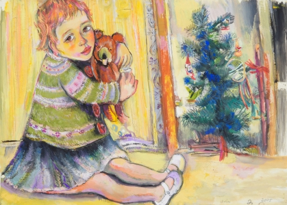 Anastasia und Teddy - Gouache auf Karton 72 x 52 cm - 2005